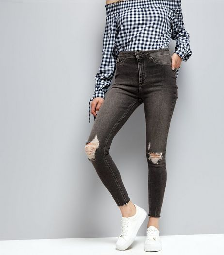 Black Ripped Knee Skinny Hallie Jeans  | New Look