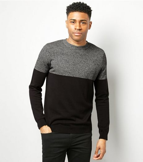 Black Colour Block Crew Neck Jumper | New Look