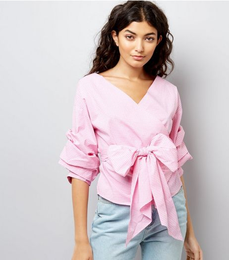 Pink Gingham Wrap Front Tie Waist Ruched Sleeve Top | New Look