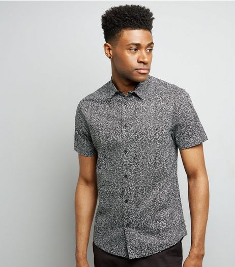 Black Petal Print Short Sleeve Shirt | New Look