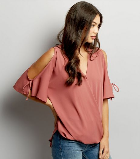 Pink V Neck Wrap Front Cold Shoulder Top | New Look