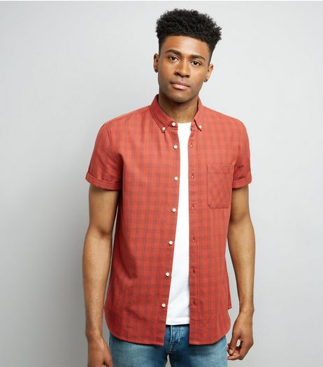 Red Check Short Sleeve Shirt | New Look