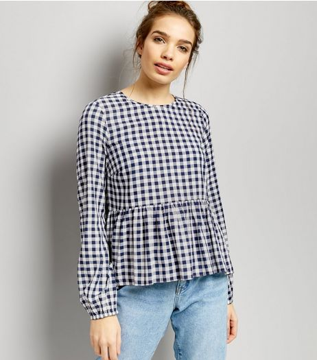 Navy Gingham Peplum Top | New Look