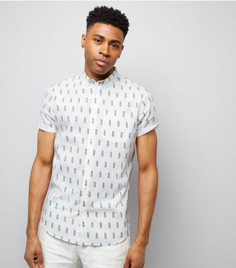 White Matchstick Print Short Sleeve Shirt | New Look