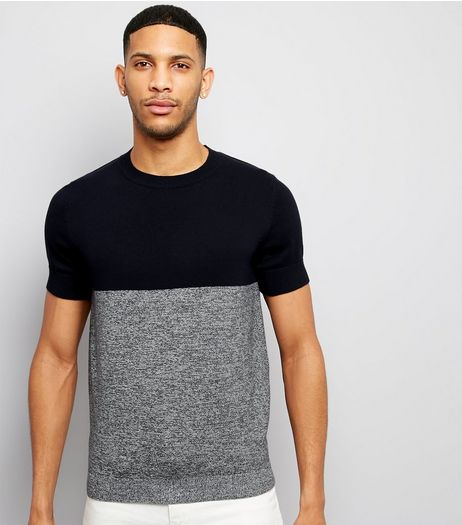 Navy Colour Block Short Sleeve Jumper | New Look