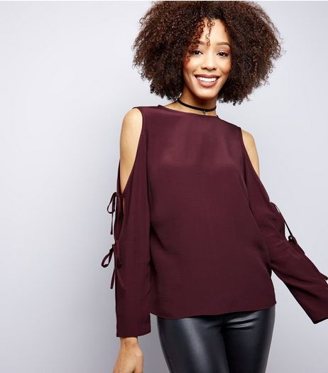 Burgundy Tie Sleeve Cold Shoulder Top | New Look