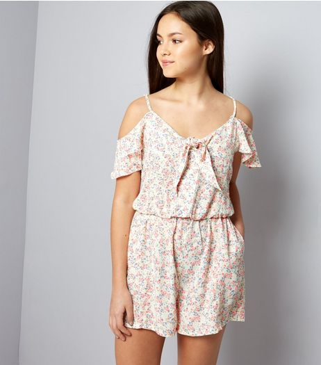 Teens Pink Ditsy Floral Cold Shoulder Playsuit | New Look