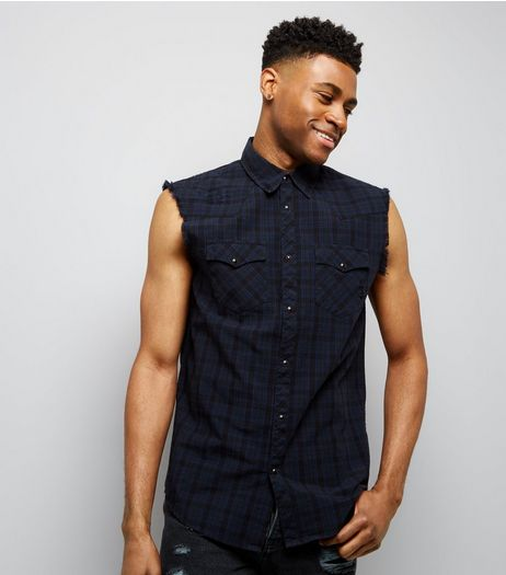 Navy Check Sleeveless Shirt | New Look