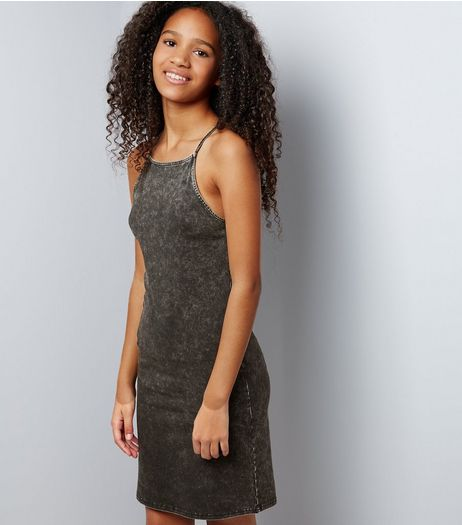 Teens Dark Grey Acid Wash Bodycon Dress | New Look