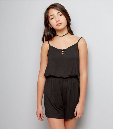 Teens Black Lattice Front Jersey Playsuit | New Look