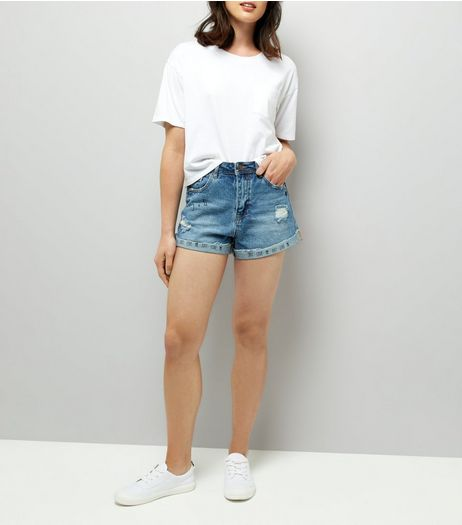 Blue Ripped Denim Mom Shorts  | New Look