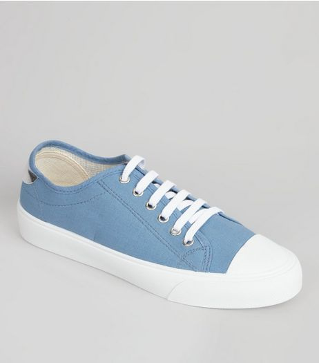 Pale Blue Canvas Lace Up Trainers | New Look