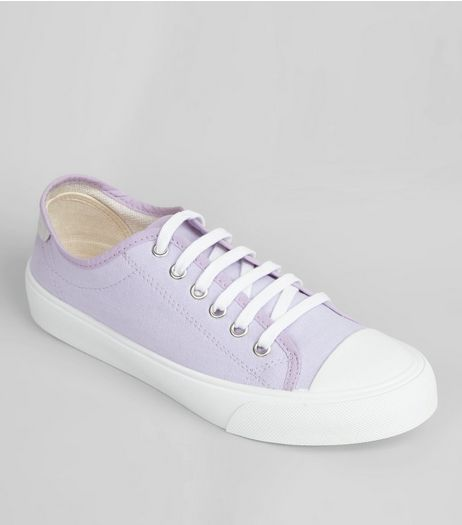 Lilac Canvas Lace Up Trainers | New Look