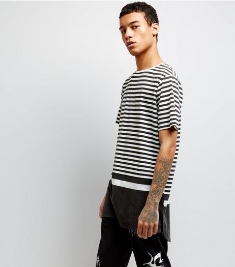 Black Blocked Stripe Longline T-Shirt | New Look