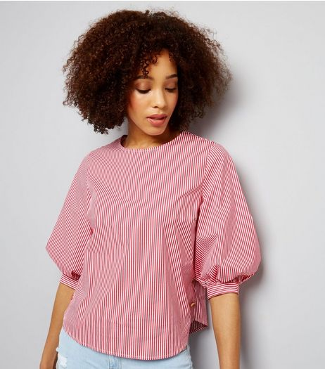 Red Stripe Gathered Sleeve Blouse  | New Look