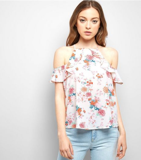 White Floral Print Frill Trim Cold Shoulder Top | New Look