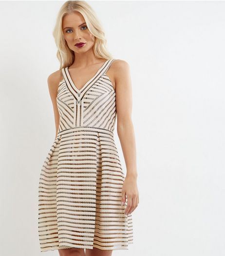 Light Pink Mesh Stripe V Neck Dress | New Look