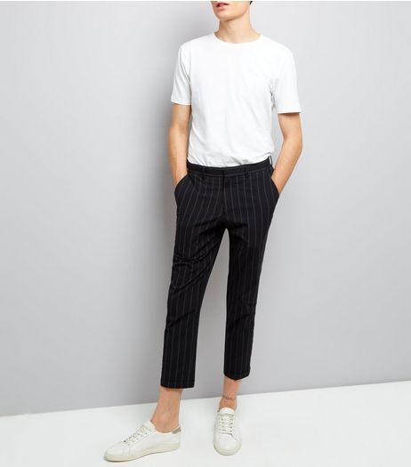 Black Pinstripe Seersucker Tailored Slim Leg Trousers | New Look