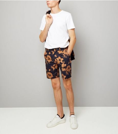 Navy Floral Print Tailored Shorts | New Look