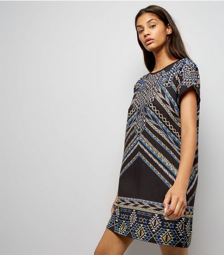 Noisy May Blue Abstract Print Dress  | New Look
