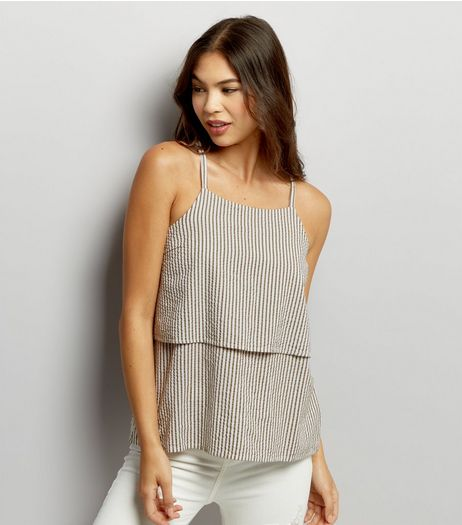 Noisy May Blue Stripe Layered Top  | New Look
