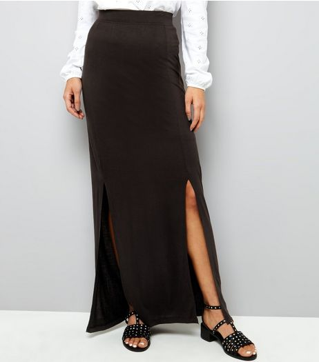 Noisy May Black Split Side Maxi Skirt  | New Look