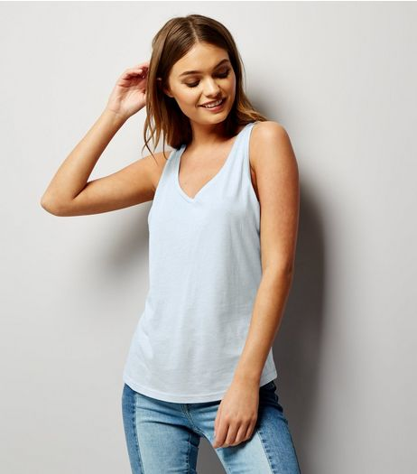 Blue Scoop Neck Vest  | New Look