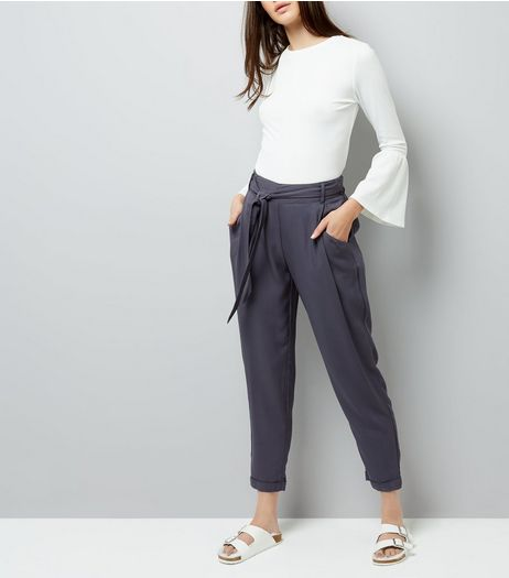 Charcoal Grey Tie Waist Trousers | New Look