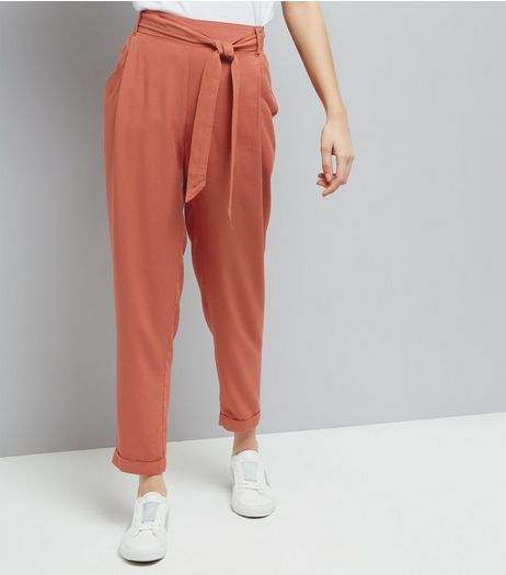 Light Brown Tie Waist Trousers  | New Look