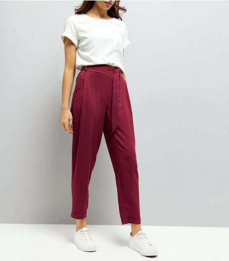 Burgundy Tie Waist Trousers | New Look