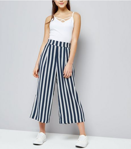 Teens Blue Stripe Wide Leg Trousers | New Look