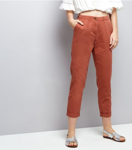 Brown Turn Up Hem Chinos | New Look