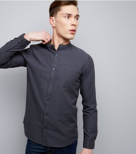 Grey Grandad Collar Long Sleeve Shirt | New Look