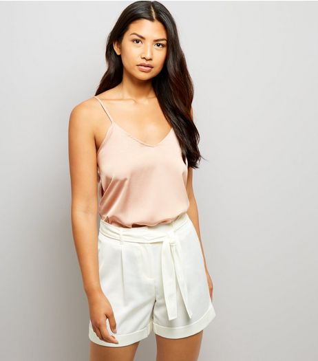 Cream Satin Tie Waist Shorts  | New Look