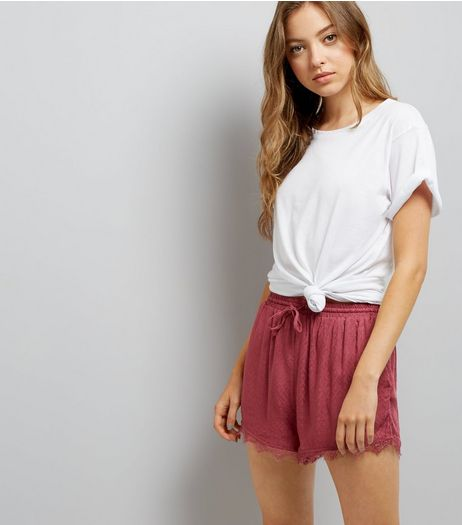 Dark Red Jacquard Texture Lace Hem Shorts  | New Look
