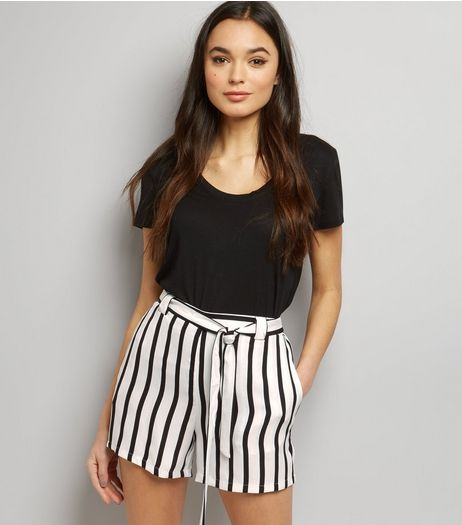 Black Stripe Tie Waist Shorts | New Look