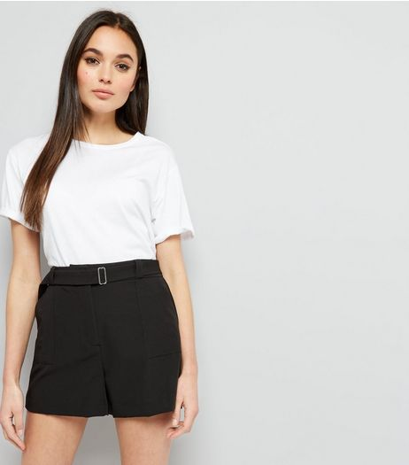 Black D Ring Buckle Shorts | New Look