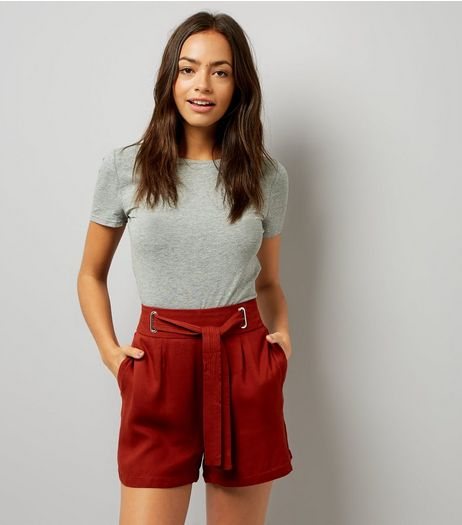 Dark Brown Tie Waist Shorts  | New Look