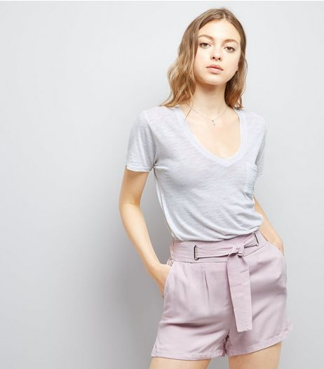 Lilac Tie Waist Shorts | New Look