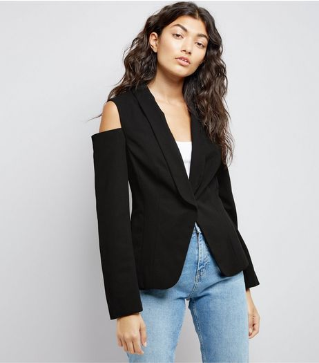 Black Cold Shoulder Jacket | New Look