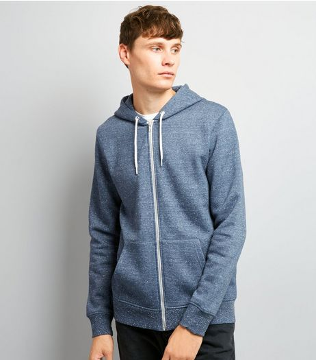 Blue Nep Marl Zip Front Hoodie | New Look