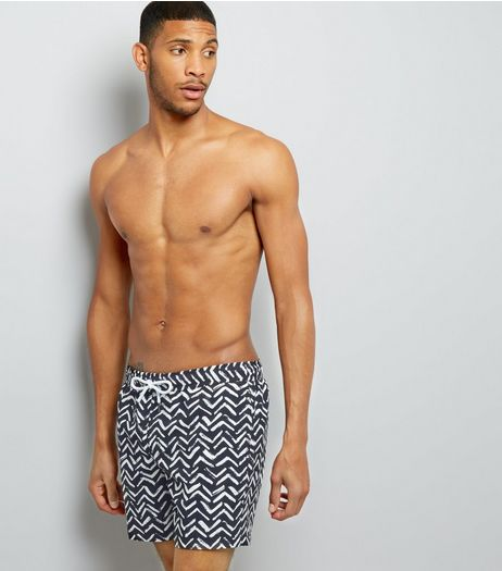 Black Chevron Print Swim Shorts | New Look