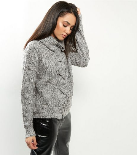 QED Grey Twist Turtle Neck Jumper | New Look