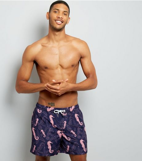 Blue Seahorse Print Swim Shorts | New Look