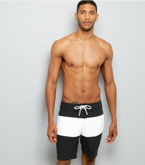 Black Colour Block Board Shorts | New Look