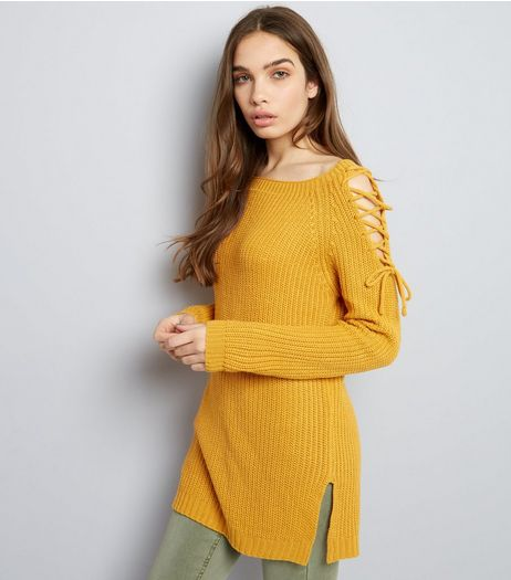 Yellow Lace Up Shoulder Jumper | New Look