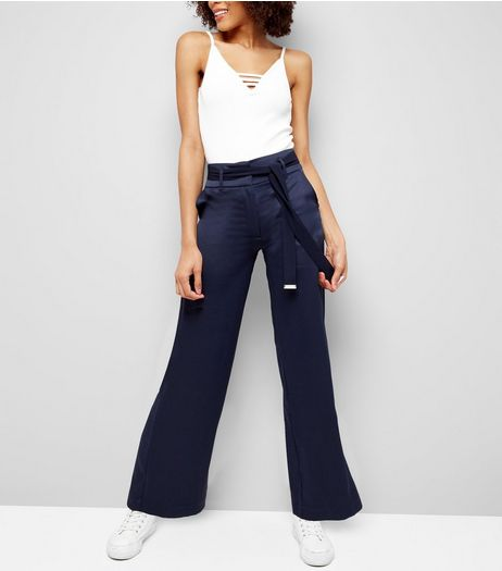 Navy Sateen High Waist Wide Leg Trousers | New Look
