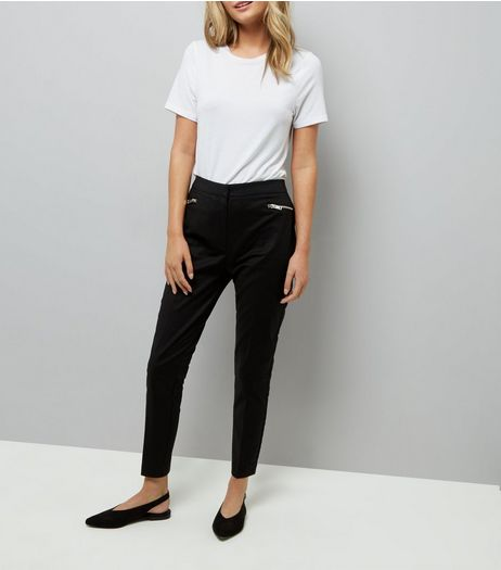 Black Zip Trim Trousers  | New Look