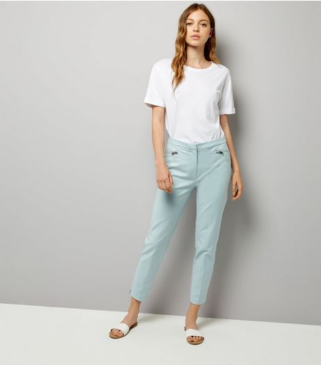 Mint Green Premium Zip Trim Trousers | New Look
