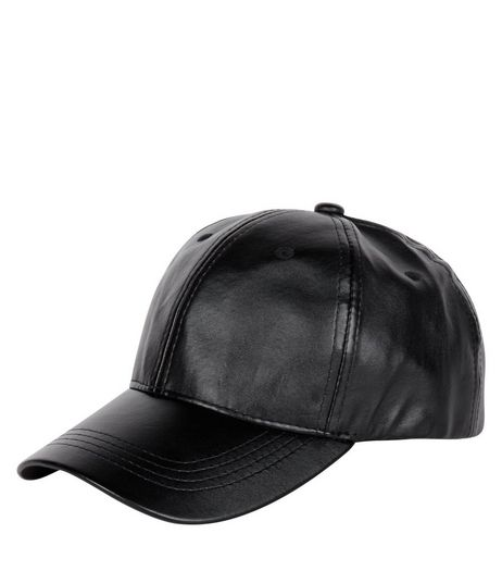 Black Leather-Look Cap | New Look